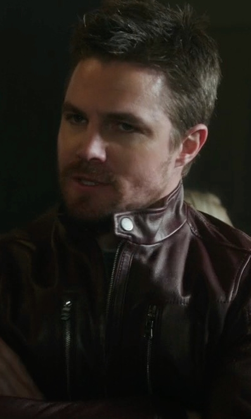 Stephen Amell with Hugo Boss Naquinn Leather Jacket in Arrow