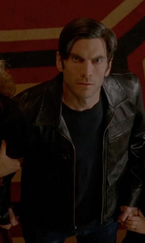 Wes Bentley with Cole Haan Smooth Leather Collar Jacket in American Horror Story