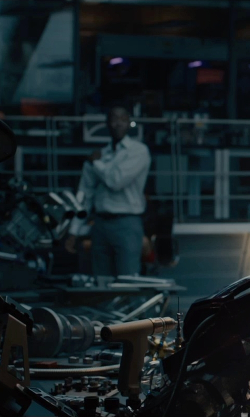 Don Cheadle with Theory Sylvain Solid Dress Shirt in Avengers: Age of Ultron
