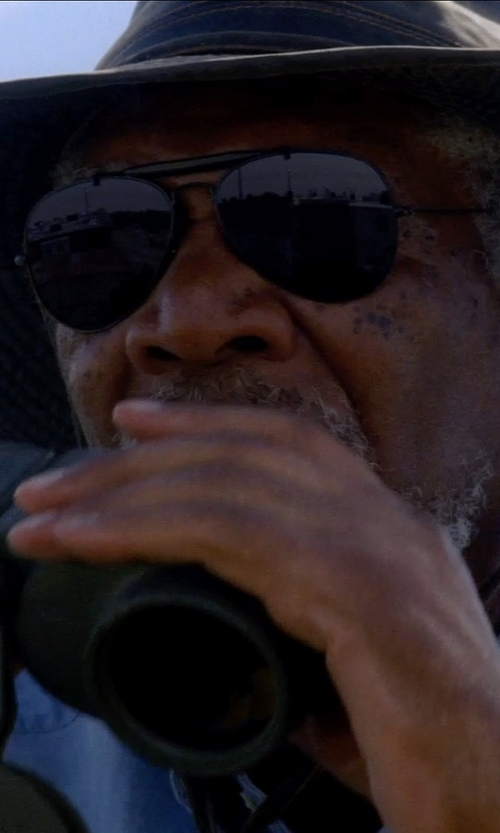Morgan Freeman with GUCCI Bamboo aviator-style sunglasses in Transcendence