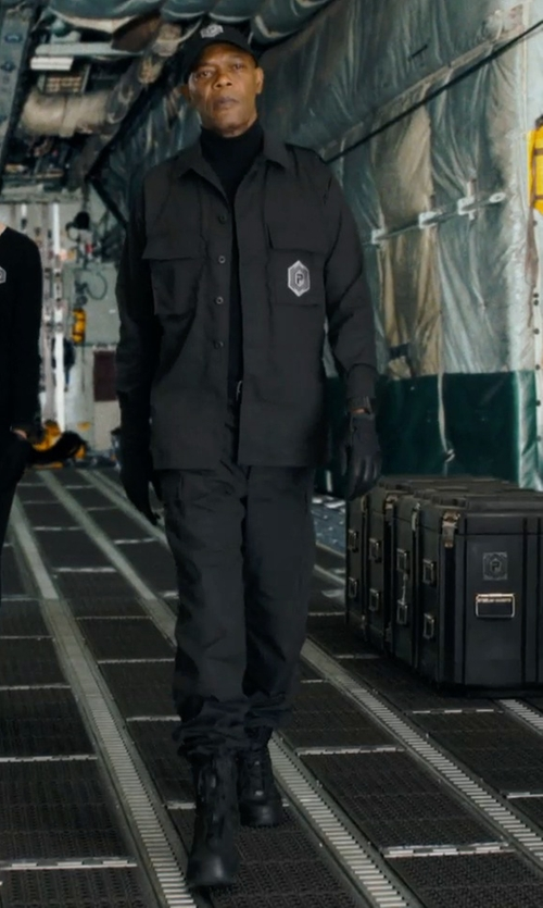Samuel L. Jackson with John Varvatos Strum Combat Zip Boots in Barely Lethal