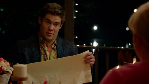 Adam DeVine with Nat Nast Haring Paisley Short-Sleeve Button-Front Shirt in Pitch Perfect 2