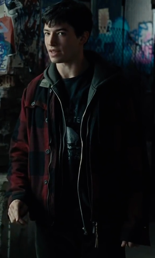 Ezra Miller with Woolrich  Men's Wool Stag Shirt Jacket in Justice League
