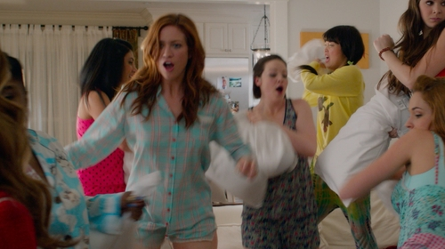 Brittany Snow with PJ Salvage 'Pattern Play' Plaid Crochet Detail Pajama Shorts in Pitch Perfect 2