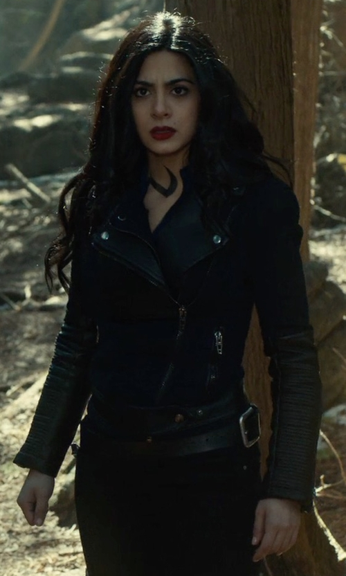 Emeraude Toubia with Maison Scotch Biker Leather Jacket in Shadowhunters