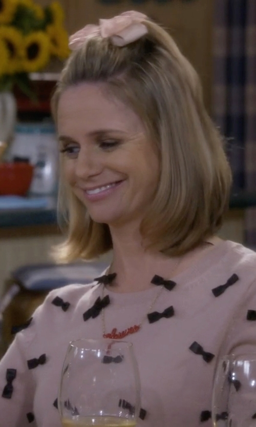 Andrea Barber with Alice And Olivia Allover Bow Sweater in Fuller House