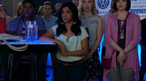 Chrissie Fit with Copper Key Teal Shorts in Pitch Perfect 2
