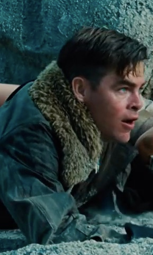 Chris Pine with Lindy Hemming (Costume Designer) Custom Made Shearling Pilot Suit in Wonder Woman