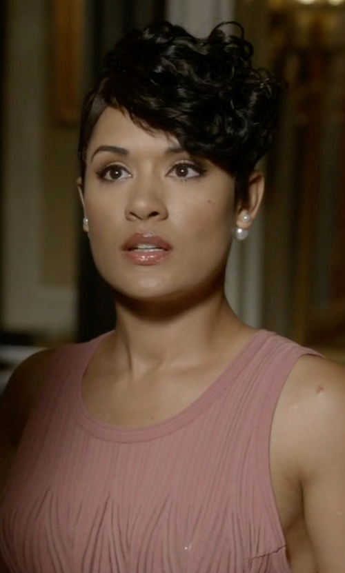 Grace Gealey with M Missoni Sleeveless Rivet-Stitch A-Line Dress in Empire