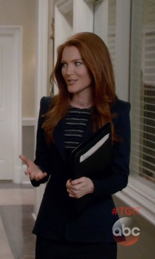 Darby Stanchfield with Theory Fitted Blazer in Scandal