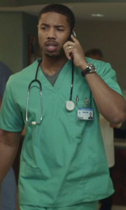 Michael B. Jordan with White Swan Everything Scrub Top in That Awkward Moment