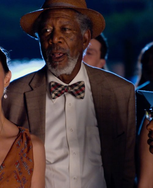 Morgan Freeman with Tasso Elba Khaki Silk and Wool Blazer Windowpane Sportcoat in Dolphin Tale 2