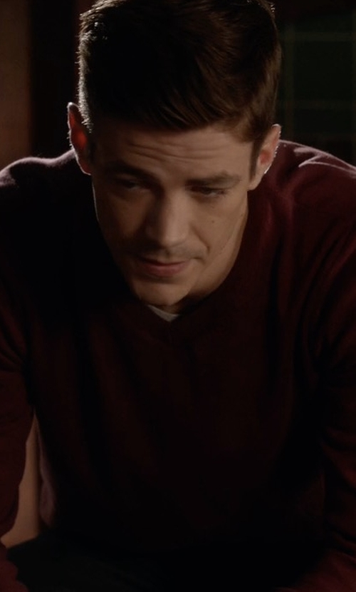 Grant Gustin with Neiman Marcus Cashmere-Silk V-Neck Sweater in The Flash