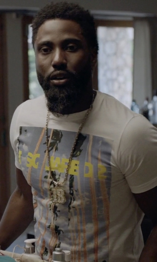 John David Washington with DSquared2 Palm Print T-Shirt in Ballers