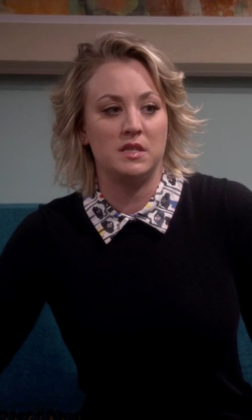 Kaley Cuoco-Sweeting with Alice + Olivia Stacey Montage-Trim Pullover Sweater in The Big Bang Theory