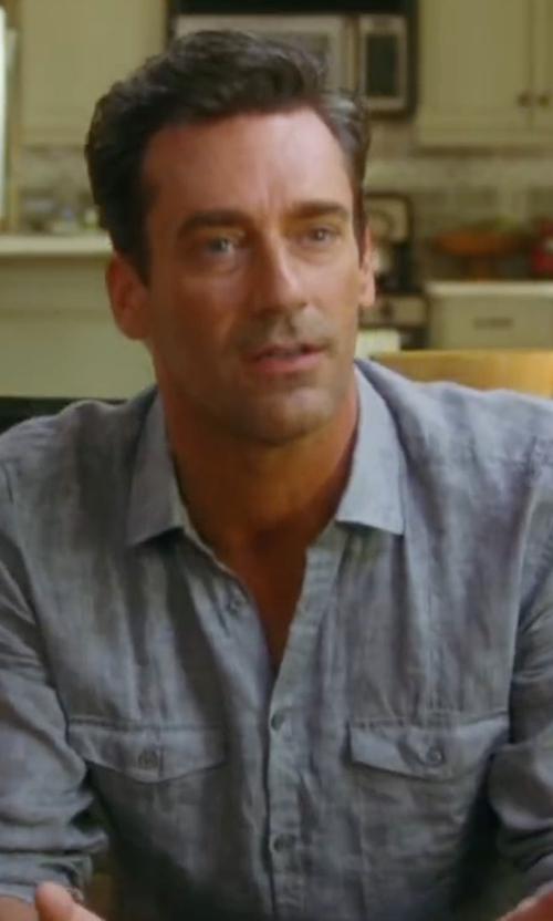 Jon Hamm with Rag & Bone Chambray Shirt in Keeping Up with the Joneses
