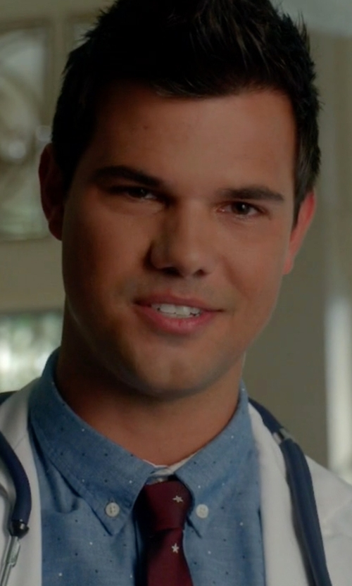 Taylor Lautner with R by Robert Graham  Peace Long-Sleeve Printed Woven Shirt in Scream Queens