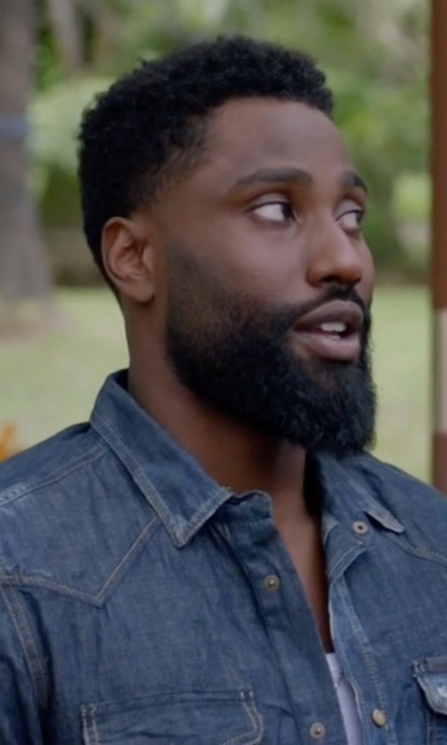 John David Washington with Citizens of Humanity Classic Jacket in Ballers