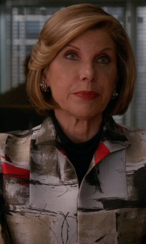 Christine Baranski with Pinko Black Pattern Blazer in The Good Wife