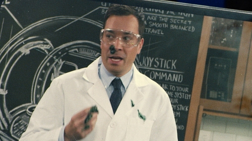 Jimmy Fallon with The Tie Bar Solid Cotton Tie in Jurassic World