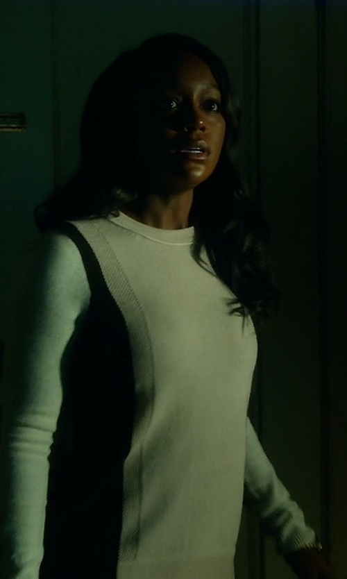 Aja Naomi King with Vince Two-Tone Knit Cashmere Sweater in How To Get Away With Murder