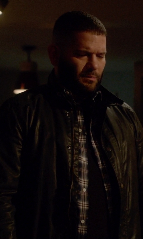 Guillermo Díaz with John Varvatos Star USA Leather Moto Jacket in Scandal