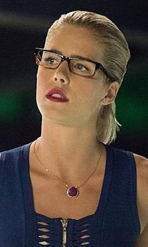 Emily Bett Rickards with Brooklyn Designs Leandra Purple Turquoise Necklace in Arrow