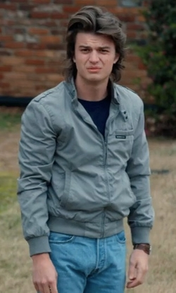 Joe Keery with Members Only Icon Bomber Jacket in Stranger Things