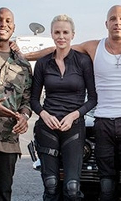 Charlize Theron with Toni Sailer Ana Striped-Jersey Long-Sleeves T-Shirt in The Fate of the Furious