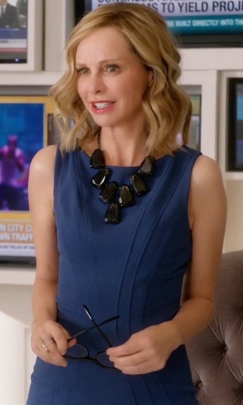 Calista Flockhart with Armani Collezioni Side-Ruched Twill Dress in Supergirl