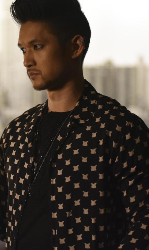 Harry Shum Jr. with AllSaints Inkblot Shirt in Shadowhunters