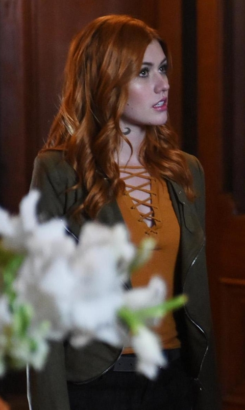 Katherine McNamara with Forever21 Contemporary Lace-Up Top in Shadowhunters