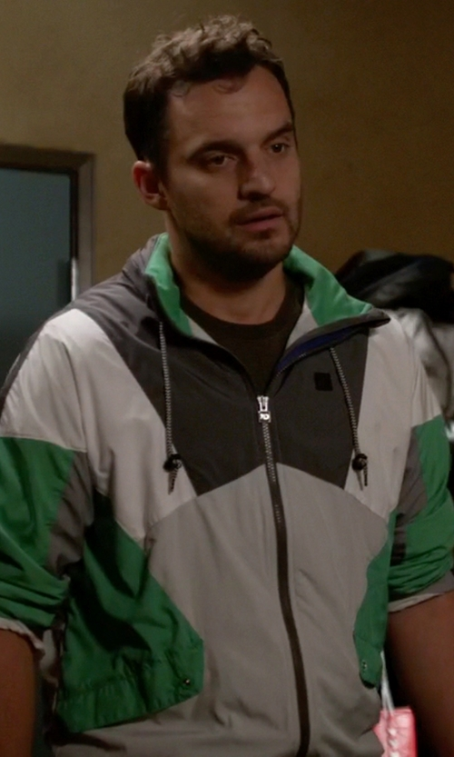 Jake Johnson with Shades Of Grey Neoprene Colorblock Hoodie in New Girl