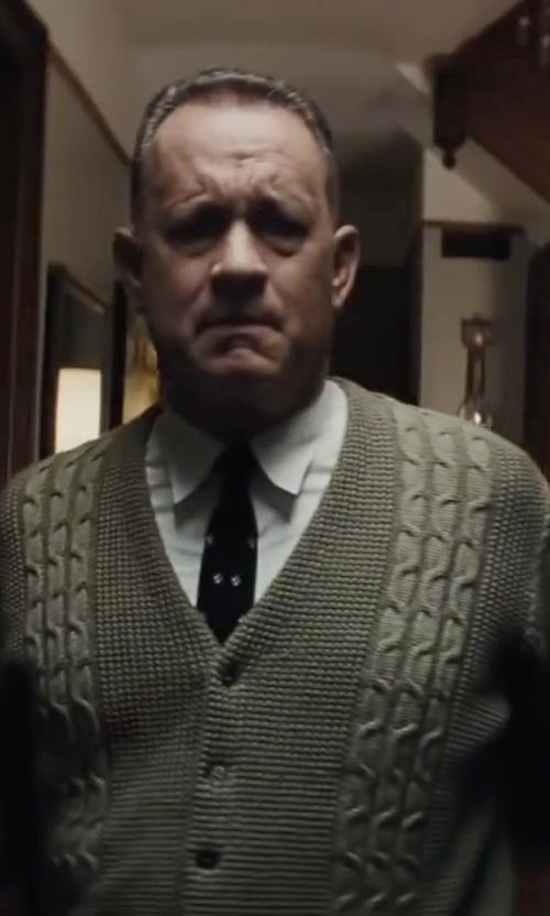 Tom Hanks with J.G. Glover Cable-Knit Crew Cardigan Sweater in Bridge of Spies