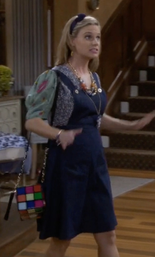 Andrea Barber with Betsey Johnson Rubix Cube Cross Body Bag in Fuller House