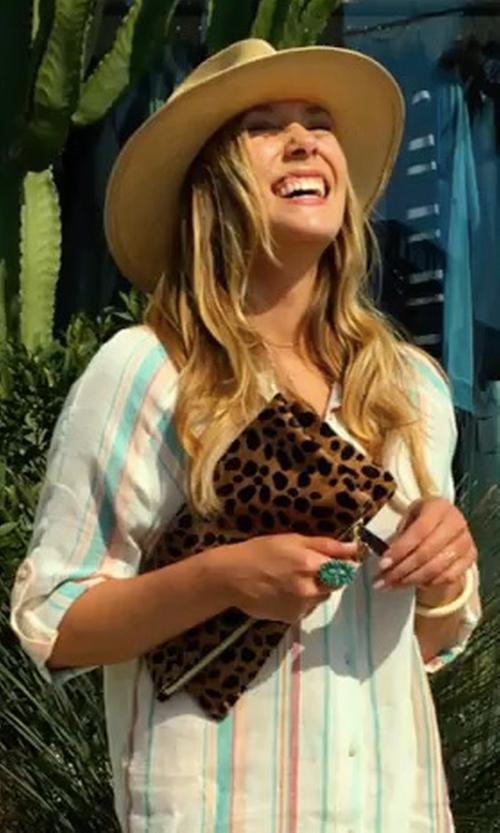 Elizabeth Olsen with Clare V. Foldover Calf Hair Leopard Print Clutch in Ingrid Goes West