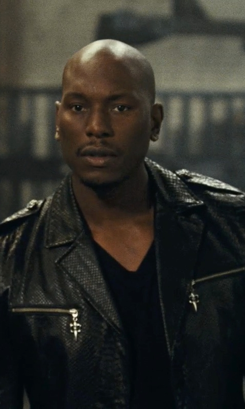 Tyrese Gibson with Burberry Brit Leather Moto Jacket in Fast Five