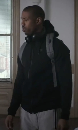 Michael B. Jordan with Nike Tech Fleece Windrunner Zip Hoodie Jacket in Creed