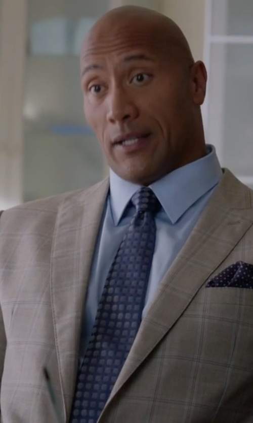 Dwayne Johnson with Armani Collezioni G-Line Windowpane Two-Piece Wool Suit in Ballers