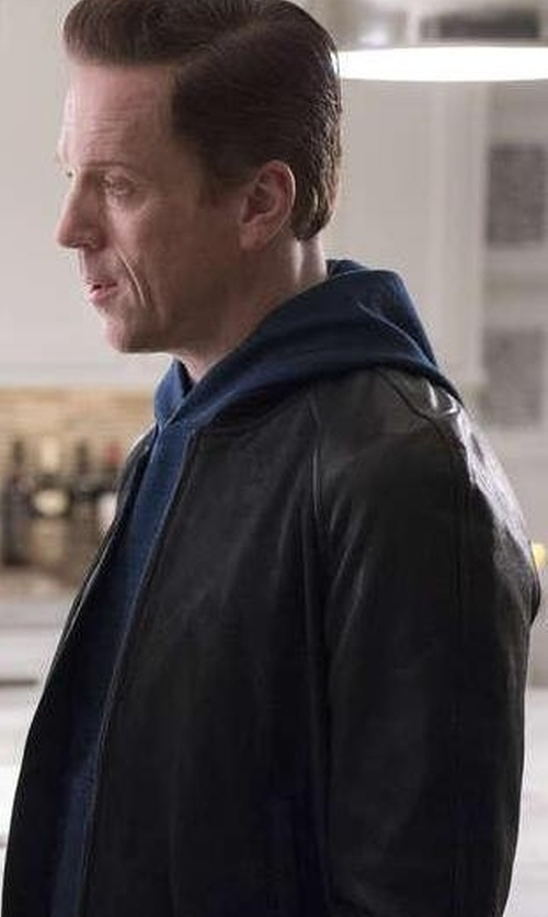 Damian Lewis with Michael Kors Leather Bomber Jacket in Billions