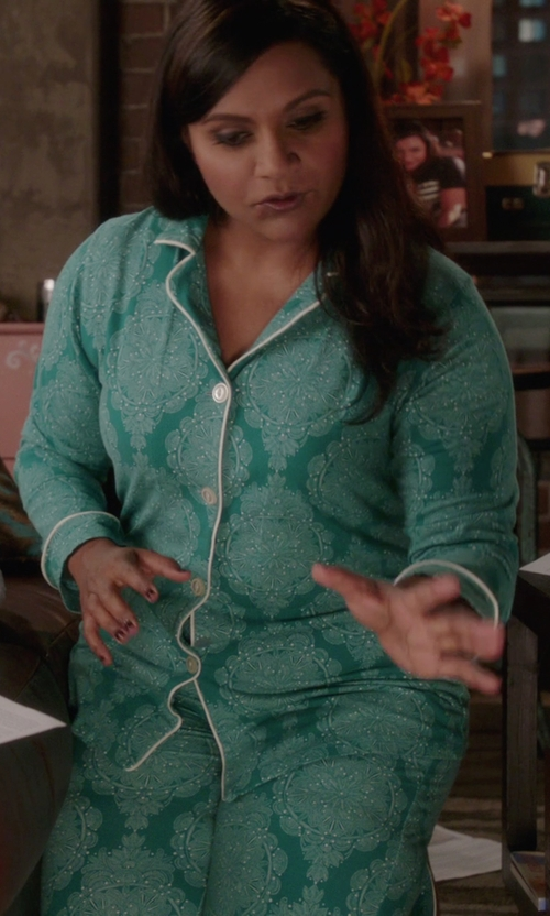 Mindy Kaling with Bedhead Jade Mandala Stretch Classic Pajama Set in The Mindy Project