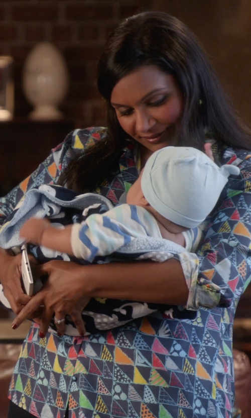 Mindy Kaling with See by Chloe Long-Sleeve Printed Georgette Tuxedo Blouse in The Mindy Project