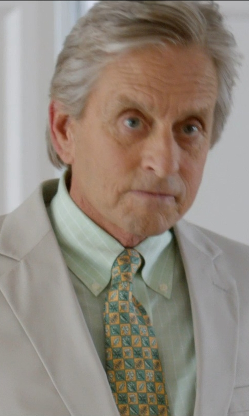 Michael Douglas with Polo Ralph Lauren Slim-Fit Striped Dress Shirt in And So It Goes
