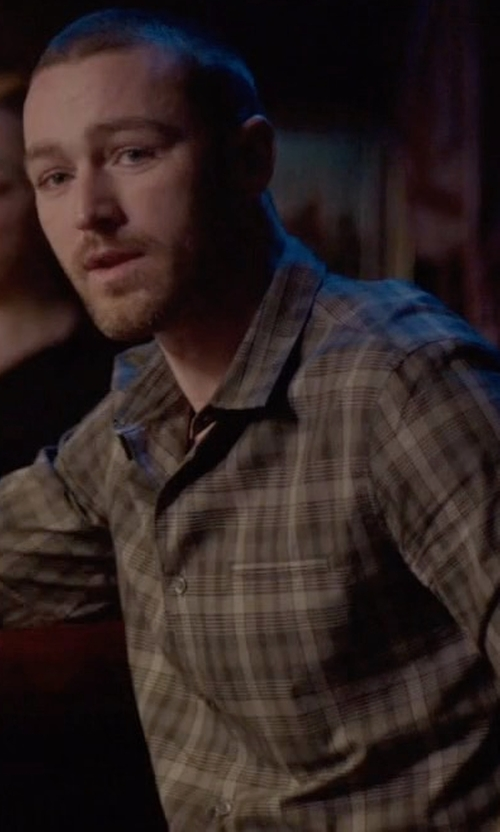 Jake McLaughlin with Billy Reid Plaid Long-Sleeve Oxford Shirt in Quantico