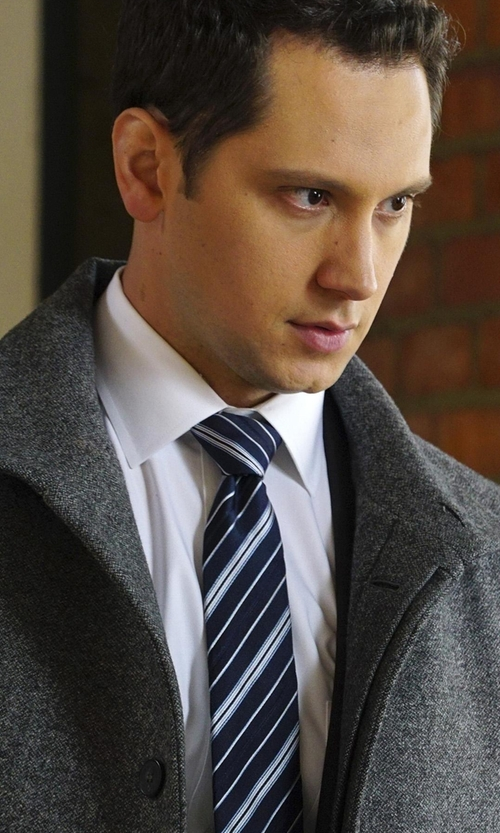 Matt McGorry with Ermenegildo Zegna Textured Grand Striped Silk Tie in How To Get Away With Murder