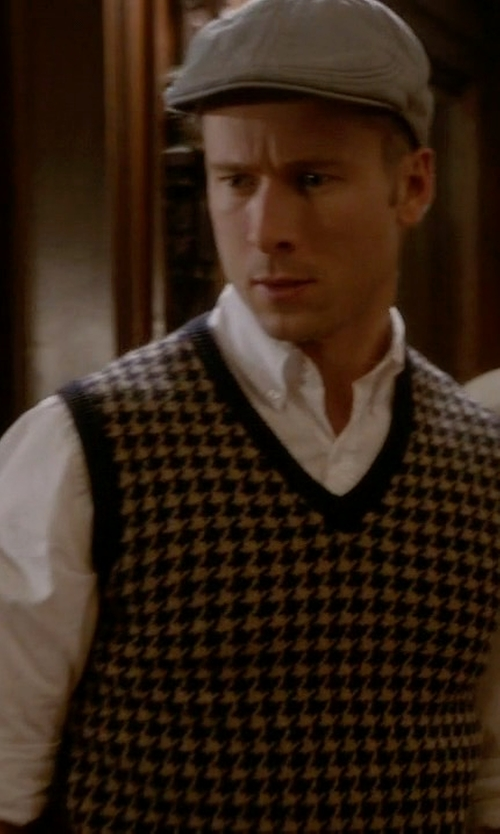 Glen Powell with Brooks Brothers Houndstooth Sweater Vest in Scream Queens