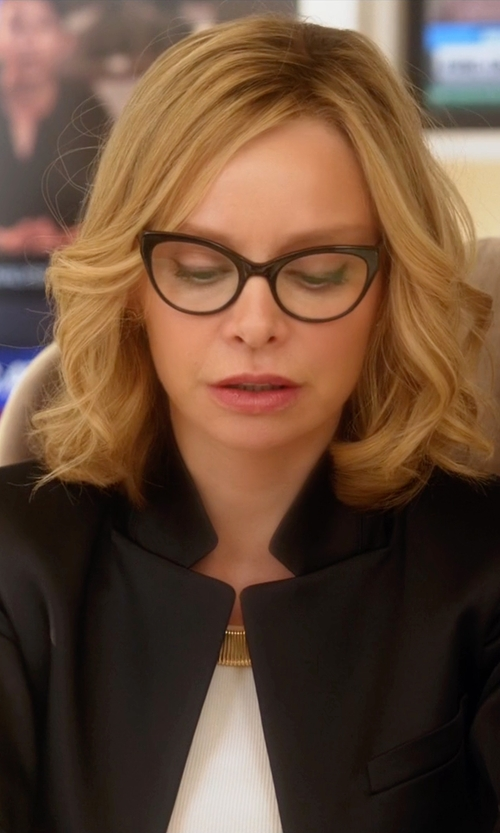 Calista Flockhart with Prism Cannes Cat-Eye Optical Glasses in Supergirl