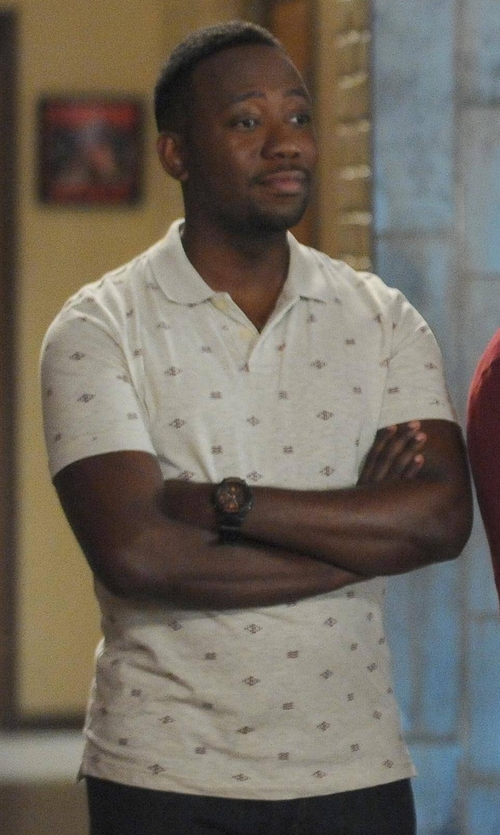 Lamorne Morris with Arizona Short-Sleeve Printed Polo Shirt in New Girl