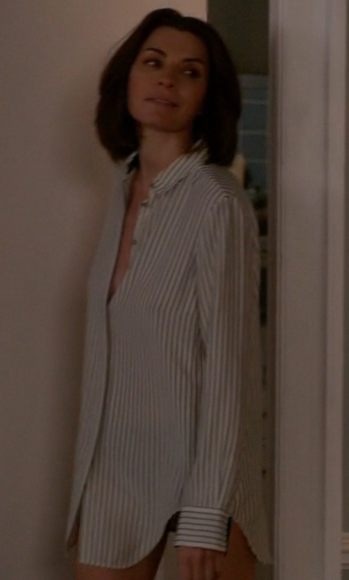 Julianna Margulies with Equipment Daddy Ticking Stripe Cotton Shirt in The Good Wife