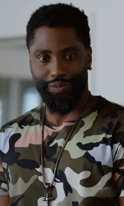 John David Washington with Valentino Multicolor Pink Camouflage Motif T-Shirt in Ballers